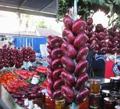 YALTA, RUSSIA - OCTOBER 06, 2014: Famous Yalta onions on Yalta market. Stock Image