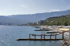 Yalta strand. Black Sea Crimea. arkivfoto