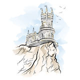 Yalta Swallow Nest. Vector illustration Royalty Free Stock Photo