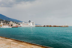 YALTA, UKRAINE - APRIL 22. MSC Lirica in Yalta Stock Photos