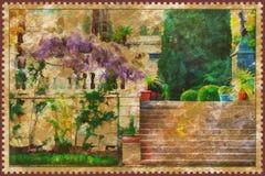 Yalta- urban landscape paint Stock Photos