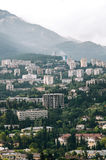 Yalta view from the funicular. Photo From the Yalta cable car in cloudy weather Royalty Free Stock Photos