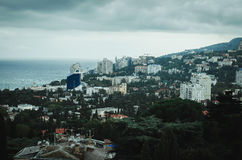 Yalta view from the funicular. A photograph of the Yalta cable car in cloudy weather Royalty Free Stock Photos
