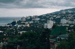 Yalta view from the funicular. A photograph of the Yalta cable car in cloudy weather Royalty Free Stock Photo