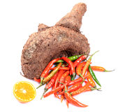 Yam and chillies Stock Images