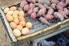 Yam and eggs. A group of Yam and eggs Stock Photos
