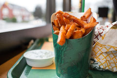 Yam fries at burger joint Royalty Free Stock Images