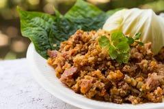 Yam Naem Khao Thot Recipe, insalata piccante delle crocchette del riso al curry immagine stock libera da diritti