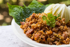 Yam Naem Khao Thot Recipe, würziger Salat von Curryreis-Kroketten Lizenzfreies Stockbild