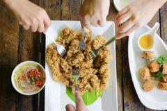 Yam pla duk foo a classic Thai food Stock Photos