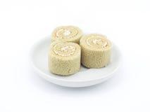Yam roll cake on white background. Yam roll cake on white plate in white background stock images