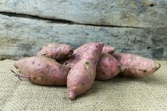 Yam on wooden table. Food Royalty Free Stock Photography