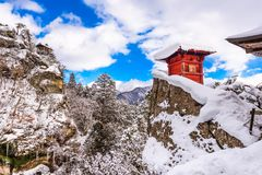 Yamadera Mountain Temple. Yamadera, Japan at the Mountain Temple in winter Royalty Free Stock Photos