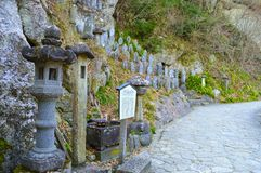 Yamadera Rock Statues. Small Rock Statues and other rock crafts at Yamadera Stock Photography