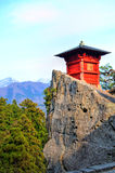 Yamadera Shrine On Percipice. Shrine on top of Yamadera temple complex in Japan, beautifully placed on a precipice Royalty Free Stock Image