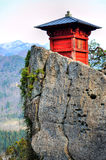 Yamadera Shrine On Percipice. Shrine on top of Yamadera temple complex in Japan, beautifully placed on a precipice Royalty Free Stock Photos