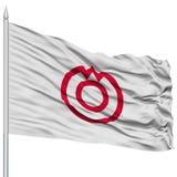 Yamaguchi Capital City Flag on Flagpole, Flying in the Wind, Isolated on White Background Stock Image