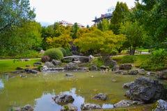 Yamaguchi parkerar parque de Yamaguchi, en japansk trädgård i Pampl arkivbilder
