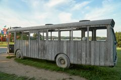 A Wooden Bus in the Park Royalty Free Stock Photo