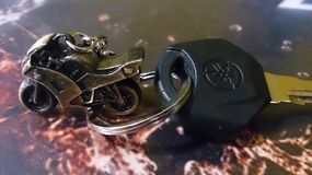 Yamaha bike metal key chain. Bike Metallic keychain Royalty Free Stock Photography