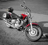 Yamaha dragstar motorcycle. Photo of a yamaha dragstar chopper motorcycle parked by kerb in whitstable kent on 3rd october 2014.photo ideal for motorbikes stock photo