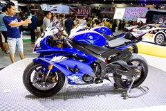 Yamaha motorcycle on display Stock Photography