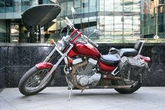 Yamaha motorcycle in the parking lot of Moscow City. Classic motorcycles, active lifestyle, motorcycle as a hobby royalty free stock photo