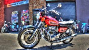 Yamaha motorcykel på skärm Arkivfoto