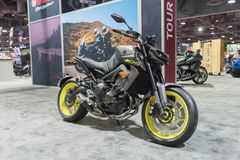 Yamaha MT-09 Hyper Naked on display. Long Beach, USA - November 17, 2017: Yamaha MT-09 Hyper Naked on display during Progressive International Motorcycle Show Stock Image