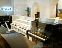 Yamaha Pianoworld luksusowy fortepianowy sklep Zdjęcia Royalty Free