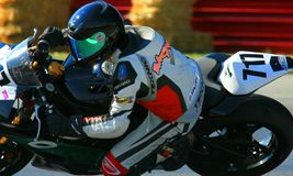 Yamaha R1 motorcycle. Aaron Bagwell races the Elm Plating Racing sponsored Yamaha R1 super bike at the pro motorsports super motorcycle racing event, Central Royalty Free Stock Photography