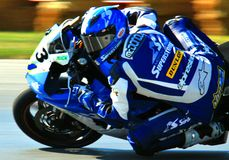 Yamaha R1 motorcycle racing. Devon McDonough races the Yamaha R1 super bike at the pro motorsports super motorcycle racing event, Central Ohio, United States royalty free stock photo