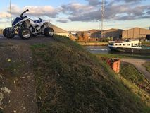 Yamaha Raptor 700r clouds canal view landscape Royalty Free Stock Photos