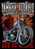 Yamaha scorpio chopper color. Image illustration a BIKER COMMUNITY for idea PATCH and Tee Shirt, clothing, apparel bikers design Stock Images