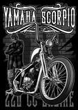 Yamaha scorpio chopper. Image illustration a BIKER COMMUNITY for idea PATCH and Tee Shirt, clothing, apparel bikers design Stock Photos