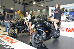 Yamaha team. Batalha - February 6, 2011: Yamaha participating in the event of the Expomoto - Hall of bikes, accessories and equipment on February 6, 2011 in Royalty Free Stock Photo