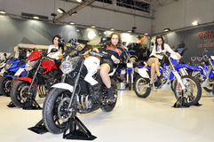 Yamaha team. Batalha - February 6, 2011: Yamaha participating in the event of the Expomoto - Hall of bikes, accessories and equipment on February 6, 2011 in Stock Image