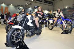 Yamaha team. Batalha - February 6, 2011: Yamaha participating in the event of the Expomoto - Hall of bikes, accessories and equipment on February 6, 2011 in Royalty Free Stock Photos