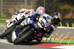 Yamaha YZF R1 команды Superbike мира Yamaha, управляемое Marco Melandri в действии во время практики Superbike в цепи Imola стоковое изображение