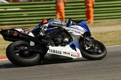 Yamaha YZF R1 of Yamaha World Superbike Team, driven by Marco Melandri in action during the Superbike Practice in Imola Circuit Stock Image