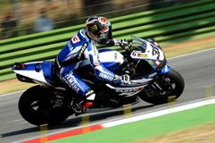 Yamaha YZF R1 of Yamaha World Superbike Team, driven by Marco Melandri in action during the Superbike Practice in Imola Circuit Stock Photography