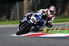 Yamaha YZF R1 of Yamaha World Superbike Team, driven by Marco Melandri in action during the Superbike Practice in Imola Circuit Stock Photo