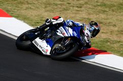 Yamaha YZF R1 of Yamaha World Superbike Team, driven by Marco Melandri in action during the Superbike Practice in Imola Circuit Royalty Free Stock Photos
