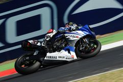Yamaha YZF R1 of Yamaha World Superbike Team, driven by Marco Melandri in action during the Superbike Practice in Imola Circuit Royalty Free Stock Images