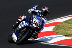Yamaha YZF R1 of Yamaha World Superbike Team, driven by Marco Melandri in action during the Superbike Practice in Imola Circuit Stock Images