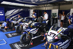Yamaha YZF R1 SBK racing team. Yamaha YZF R1 official Racing team in the world Superbike Championship SBK Stock Image