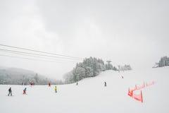 Yamakata, Japón - 7 de febrero de 2017: Ferrocarril aéreo en invierno en Zao SK Foto de archivo libre de regalías