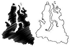 Yamalo-Nenets Okrug mapy Autonomiczny wektor ilustracja wektor