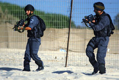 Yamam - Israel Special Central Unit. ASHDOD,ISR - SEP 09:Yamam unit simulate sea terror attack on Israeli beach on Sep 09 2007.It capable of both hostage-rescue stock image