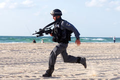 Yamam - Israel Special Central Unit. ASHDOD,ISR - SEP 09:Yamam unit simulate sea terror attack on Israeli beach on Sep 09 2007.It capable of both hostage-rescue royalty free stock images